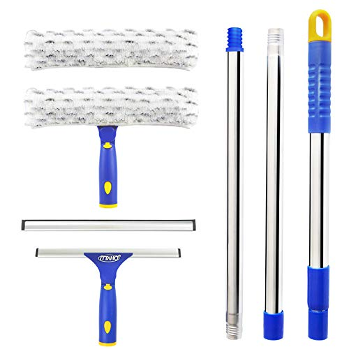ITTAHO Squeegee for Window Cleaning,Squeegee and Microfiber Scrubber Combi with Stainless Steel Pole,Extendable Squeegee Window Cleaner for Car,Sliding Door,Shower Glass Door-Swivel Style-2 Pads