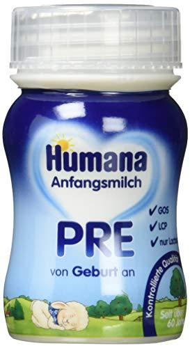 Humana Anfangsmilch Pre, von Geburt an, trinkfertig, Portionsflaschen, 2er Pack (24 x 90 ml)