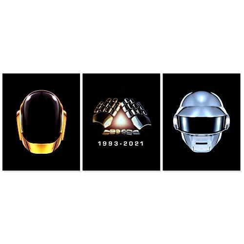 Juego de 3 pósteres de Daft Punk sin marco, 8 x 10 cm, carteles, portada de álbum, para estética, decoración de pared, diseño de casco Daft Punk
