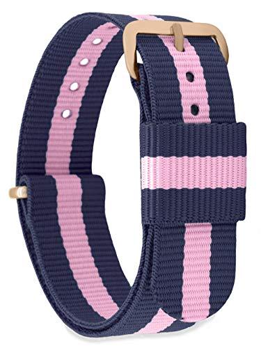 MOMENTO Damen Herren NATO Nylon Ersatz Uhren-Armband Strap mit Edelstahl-Schliesse in Rose-Gold und Nylon-Armband in Blau Pink 18mm