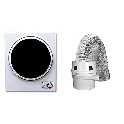 Panda 1.50 cu.ft Compact Laundry Dryer, White and Black & Dundas Jafine TDIDVKZW Indoor Dryer Vent Kit with 4-Inch by 5-Foot Proflex Duct, 4 Inch, White