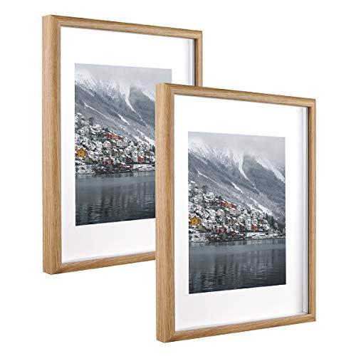 Metrekey 28x35 cm Bilderrahmen 3D Tief mit Plexiglas zum Befüllen, Hozl Rahmen mit Passepartout für 20x25 cm, 2er Set, Gelb Fotorahmen für Tischdisplay und Wandbehang