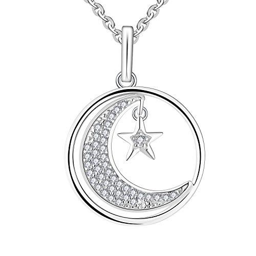 JO WISDOM Mujer Collares Colgante Plata de ley 925 Estrella y Luna Creciente con AAA Circonita
