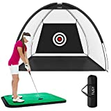 TUSY Golf Net Golf Hitting Nets Training Aids Practice Nets for Backyard Driving Range Chipping Practice with Target Sheet Carry Bag for Indoor & Outdoor Sports