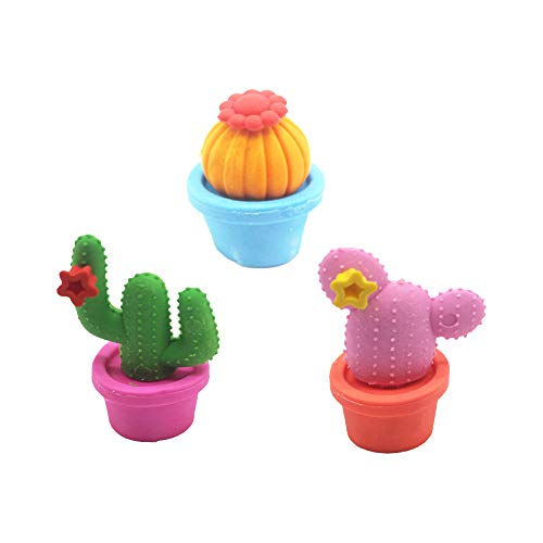 BinaryABC Back to School Supplies,Cactus Erasers,Cartoon Erasers,Pencil Eraser, School Stationery,3pcs(Random Color)