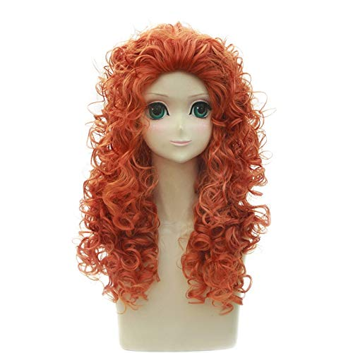 Anime Brave Princess Merida Wave Curly Wig Cosplay Disfraz Resistente al calor Pelo sinttico Mujeres Cosplay Pelucas