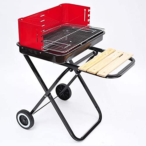 Barbacoa portátil,Parrilla de barbacoa plegable para cocinar, carrito de carbón con ruedas,...