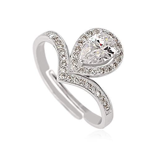 WHX 925 Anillo de Plata esterlina Gota Ligeramente Conjunto Diamante se refiere a la propuesta de Boda de Diamante de Beso Angel Anillo conmemorativo Conjunto LRy 0,2 cm