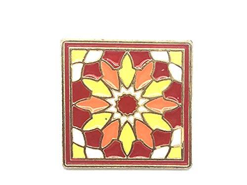 Patch Nation Weinlese-Retro- Blumen-Ziegelstein-Fliese Metall Button Badge Pin Pins Anstecker Cosplay Brosche (10)