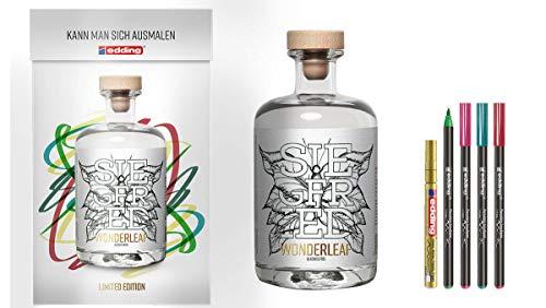 Siegfried Wonderleaf 0,5l (0% Vol) Limited Edition + 5x Edding - Alkoholfreier Gin + Edding zum ausmalen- [Enthält Sulfite]