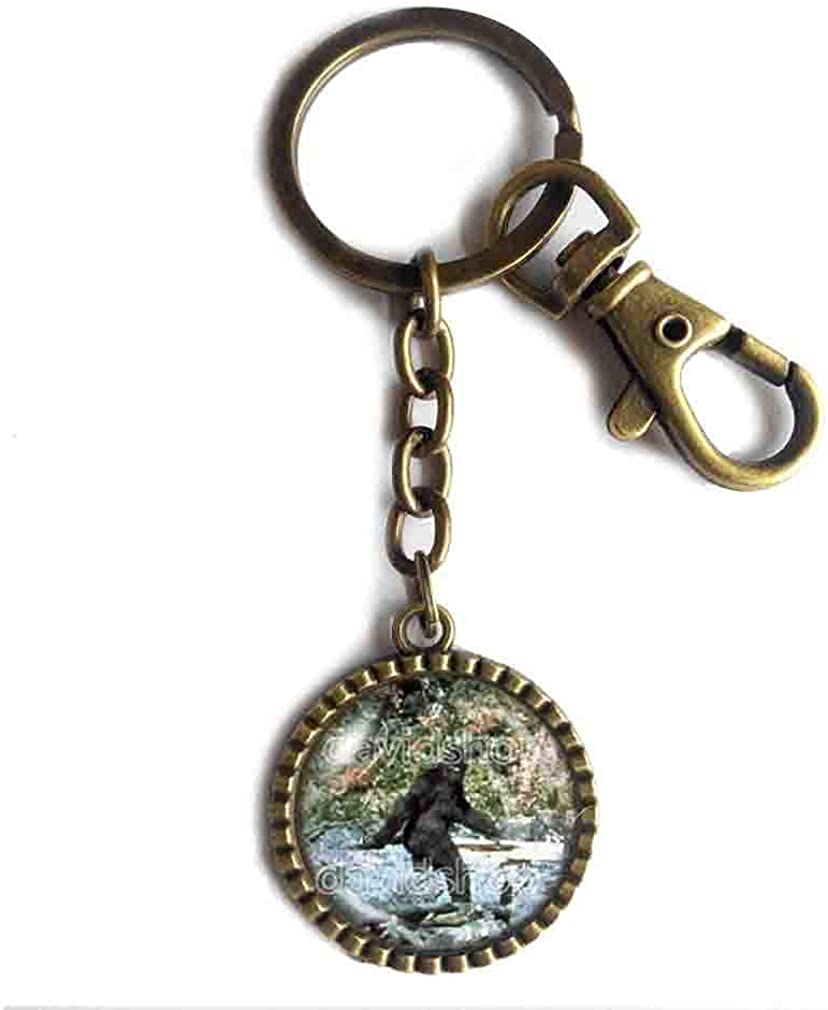 Bigfoot Key Chain Key Ring Cute Keyring Car Sasquatch Symbol