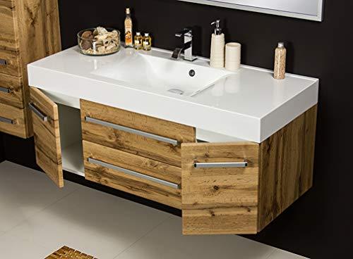 Quentis Badmöbel Zeno, Breite 120 cm, Waschbecken mit Unterschrank, Holzdekor Eiche Natur, Waschbeckenunterschrank montiert