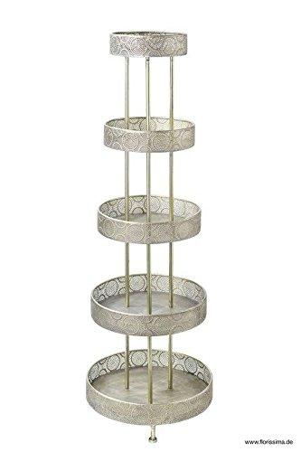 Antike XL Etagere - Höhe 150cm / Durchmesser 50cm - Farbe: Silber - Material: Aluminium - 5-Stöckig - Sehr Große & Hochwertige Dekoetagere/Metalletagere/Silberetagere