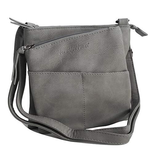 Jennifer Jones - kleine -DamenHandtasche Clutch Umhängetasche Abendtasche Ausgehtasche Schultertasche (Grau) - präsentiert von ZMOKA®