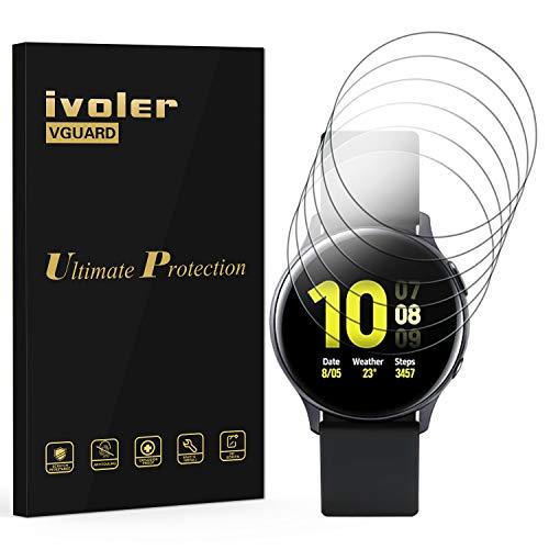 VGUARD [6 Stück] Schutzfolie Bildschirmschutzfolie für Samsung Galaxy Watch Active/Samsung Galaxy Watch Active 2 40mm, 3D Vollständige Abdeckung [Wet Applied] HD TPU Weich Folie