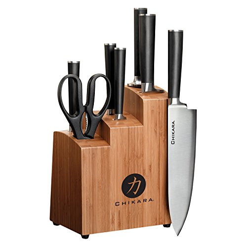Ginsu Gourmet Chikara Series Forged 8-Piece Japanese Steel Knife Set – Cutlery Set with 420J Stainless Steel Kitchen Knives – Bamboo Finish Block, 07108DS