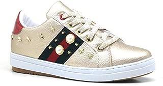 İnci Detaylı Altın Rengi Yüksek Taban Casual Sneaker