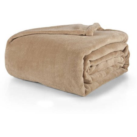 Mainstays Plush Blanket, Full/Queen, Brownstone