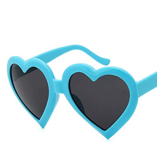 NJJX Corazón Mujeres Gafas De Sol Moda Amor Rosa Negro Señoras Gafas De Sol Mujer C3Blue
