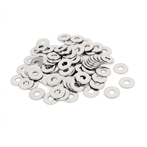 uxcell M6x18mmx1.5mm Stainless Steel Round Flat Washer for Bolt Screw 100Pcs