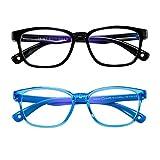 AHXLL Kids Blue Light Blocking Glasses 2 Pack, Anti Eyestrain & UV Protection, Computer Gaming TV Phone Glasses for Boys Girls Age 3-9 (Black+Transparent Blue)