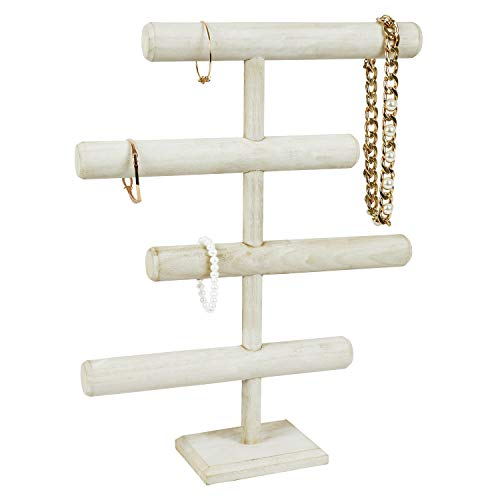 Mooca Lightweight Wooden 4-Tier Jewelry Display Stand, Wooden Necklace Jewelry Display Organizer Bracelet Holder for Shows, Wooden Bracelet Watch Display Stand, Wash White Color