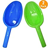 """Gamtec Jumbo Large Size 14"""" Kids Toy Snow Sand Shovels Beach Sturdy Sand Scoop Plastic Shovels Toy Spade for Sand&Snow Beach Kids Teenagers 2 Pack(Blue&Green)"""