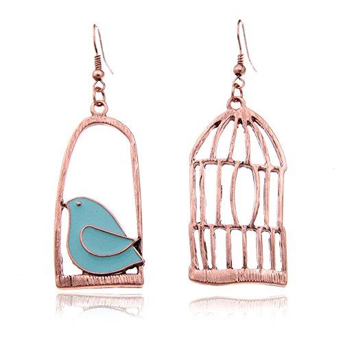 SODIAL Orecchini pendenti da donna con gabbia per uccelli di moda vintage per uccelli con ciondolo da uccello