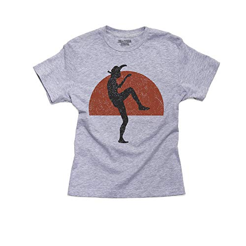 Martial Arts Karate Crane Kick Silhouette At Dusk Boy's Cotton Youth T-Shirt
