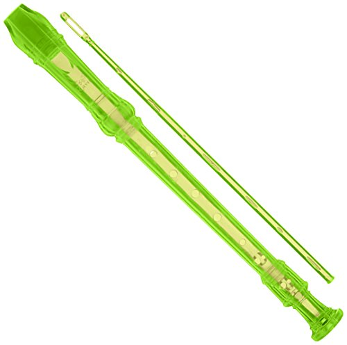 Ravel PR19CGN Flauta dulce transparente con varilla de limpieza y bolsa, Verde, Verde, One Size