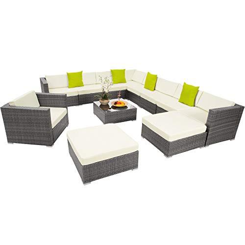 TecTake XXL Aluminio POLIRATÁN Conjunto TRESILLO Muebles DE RATÁN Conjunto para JARDÍN Incl. Fijaciones (Gris   No. 403081)