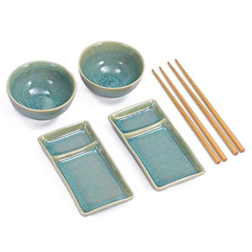 Urban Lifestyle Juego de sushi Misaki turquesa para dos personas, 2 platos de sushi, 2 cuencos de cerámica, 2 pares de palillos de bambú