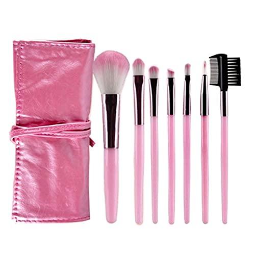 Kit de pincéis de maquiagem, 7 peças, kit de pincéis de maquiagem, kit de ferramentas de pincel, delineador de olhos, macio, sintético natural (tamanho : rosa)