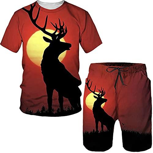 Animal Deer Summer 3D Impreso Camiseta de Hombre Shorts Set Chándal O Cuello Traje de Manga Corta