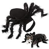 COCITY disfraz de Halloween para mascotas con hebilla de pasta ajustable para el cuello para cachorro, perro pequeño, gato, simulación de araña negra, disfraz de terror, divertido, fiesta cosplay