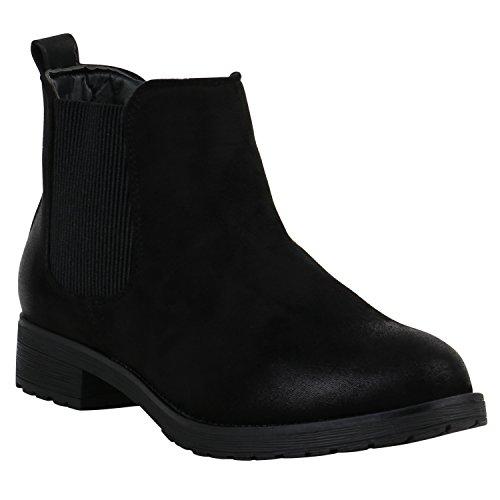 Damen Stiefeletten Chelsea Boots Leder-Optik Booties London Style Übergrößen Gr. 36-42 Schuhe 127450 Schwarz Matt Glatt 40 Flandell