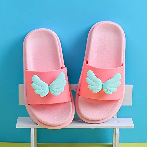 slippers hombre casa,Zapatillas para niños, bebé de verano, lindas alas de hojas, sandalias y zapatillas de uso exterior, zapatillas para niños antideslizantes de baño masculino-Alas rosadas_30-31