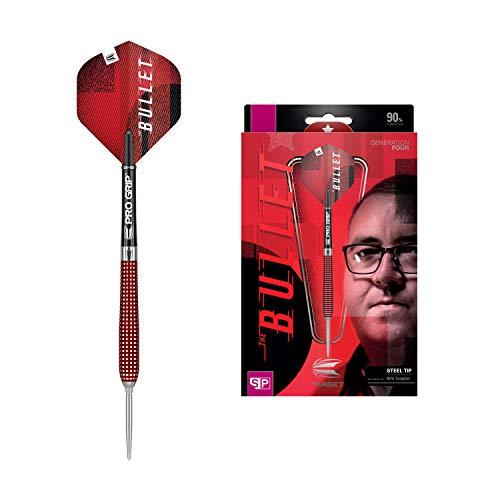 Target Darts Stephen Bunting 4. Gen. 90% Wolfram Swiss Point Steeldarts-Set (23gr), Silber und Rot, 23 G