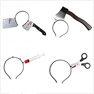 Miss.AJ 4 piezas de cuchillo de Halloween a través de la cabeza sangrienta Tipzombie de plástico para el pelo, diadema, disfraz, accesorio de fiesta