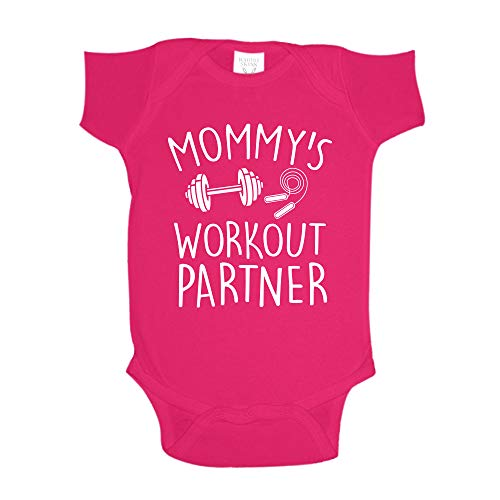 The Shirt Den Mommy's Workout Partner Baby One Piece 6 mo Cyber Pink