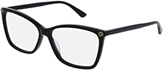 Gucci Women's Gg0025o 56Mm Optical Glasses, Black, 56-14-140