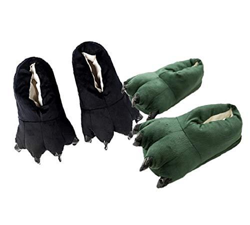 Kit 2 Pantufas Verde Escuro e Preta Pata de Garra Dinossauro Panda Calça 35 a 40