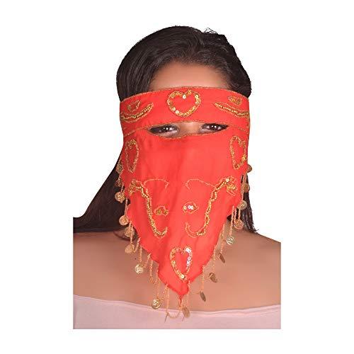 Egypt Bazar Arabische Beduinen-Maske Gesichtsschleier Orientalischer Folkloretanz-Schmuck (rot)