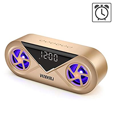 Bluetooth Speaker Wireless Alarm Clock Bluetooth Speaker Hi-Fi 3D Surround Sound Dual Drivers LED Light Portable Compact Support TF Card Aux in Play for Home Outdoor Camping (S6-Gold) from VENNERLI