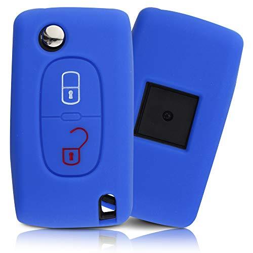 ASARAH Cover chiavi auto PREMIUM in silicone compatibile con Citroen, Copertura protettiva per chiavi dell'auto, Copertina per tipo di chiave 2BKB - Mare blu