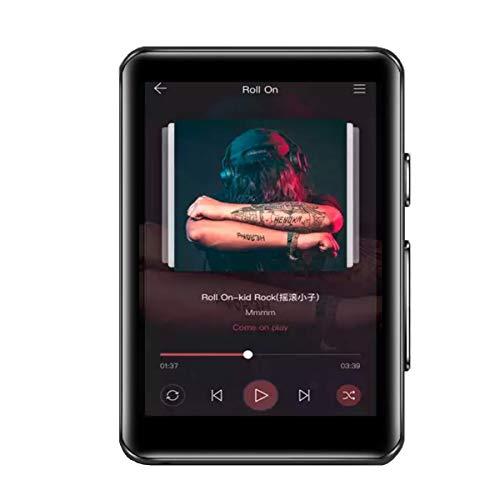 CCHKFEI Reproductor de MP3 con Bluetooth de 32 GB de Pantalla táctil Completa de 2,4 Pulgadas, Reproductor de MP3 de Metal HiFi con Altavoz Radio FM/grabadora de Voz Reproductor de música