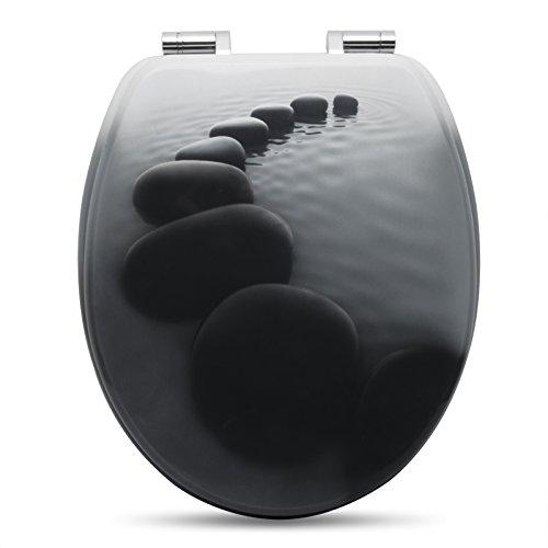 WOLTU #2 Premium WC-Sitz Toilettensitz mit Absenkautomatik, MDF Holzkern, Softclose Scharnier, Antibakteriell, Desgin Décor (WS2581 Schwarze Steinen)