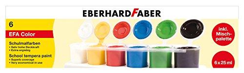 Eberhard Faber 575506 - Schulmalfarben Tempera, inklusive Mischpalette, 6 x 25 ml Näpfchen