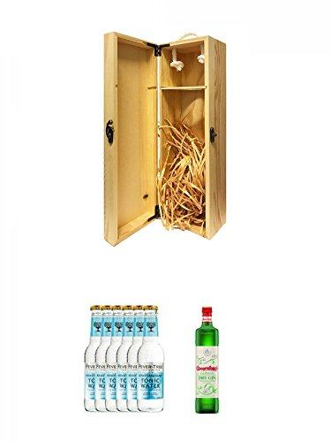 1a Whisky Holzbox für 1 Flasche mit Hakenverschluss + Fever Tree Mediterranean Tonic Water 6 x 0,2 Liter + Doornkaat German Dry Gin 0,7 Liter