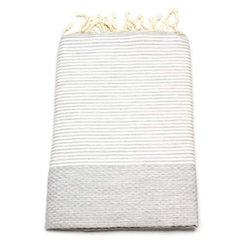 ANNA ANIQ Fouta Hamamtuch Sauna-Tuch XXL Extra Groß 185 x 100cm - 100% Baumwolle aus Tunesien als Strand-Tuch, orientalisches Bade-Tuch, Picknick, Yoga, Schal, Pestemal, Strand-Handtuch (Hellgrau)
